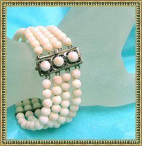 Vintage Mediterranean Coral 900 Silver Bracelet 4 Row