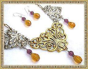 Big Bold Necklace Victorian Art Nouveau Style Bib Ear Set