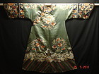 Antique Chinese Qing imperial turquoise green silk robe