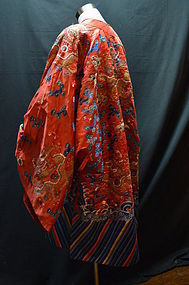 Antique Chinese red embroidered dragon silk robe