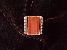 Rare Navajo Single Shank Ring set with Catlinite Stone