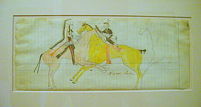 Plains Ledger Drawing - Kaw Indian