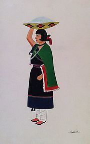 Awa Tsireh Watercolor Depiciting Woman w/ Blue Cornmeal