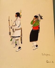 Quah Ah (Tonita Peña) Watercolor - Kachina Dance