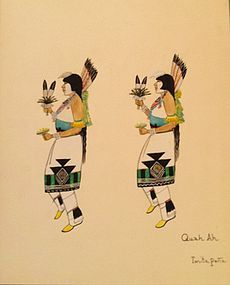 Quah Ah (Tonita Peña) Watercolor - Corn Dancers