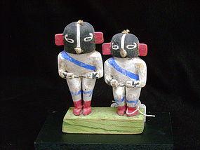 Rare Pair of  Hopi Kokopelli Kachina Dolls