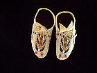 """c .1900-1910 Blackfoot Child's Beaded Hide Moccasins"""