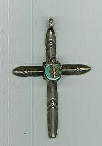 """Navajo Turquoise and Silver Cross"""
