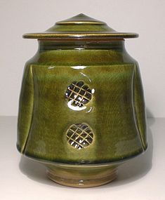 Medieval Green Stamped And Lobed Cap Jar