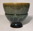 Karatsu Style Chalice Form Temmoku & Haiyu Teabowl