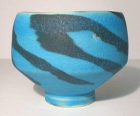 Persian Vellum Suminagashi Style Neriage Teabowl 1117tb