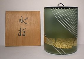 Glass Mizusashi With Gold Accents By Tanaka Tsuneo