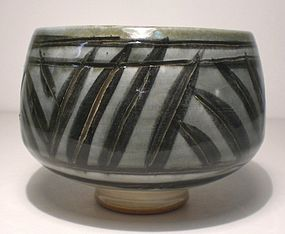 Ao Glazed Brushwork & Incised Grasses Teabowl (1119tb)