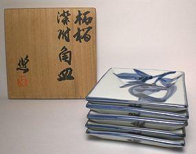 Sometsuke Plate Set By Kondo Yuzo; Ningen Kokuho