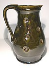 Medieval Green & Temmoku Stamped Pitcher