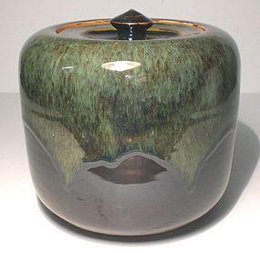 Cylindrical Haiyu & Temmoku Covered Form/ Mizusashi