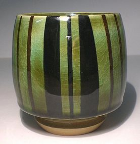 Medieval Green Yunomi With Black and Red Iron Design