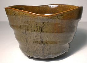 Altered Oval Karatsu Style teabowl (1132tb)