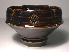 Lobed & Stamped Temmoku Pedestal Teabowl (1147tb)
