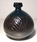 Temmoku Carved Grasses Bottle/Vase