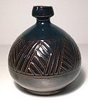 Temmoku Carved Grasses Bottle/Vase
