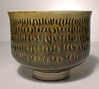 High Sided Chatter Design Iron Yellow Teabowl (1150tb)