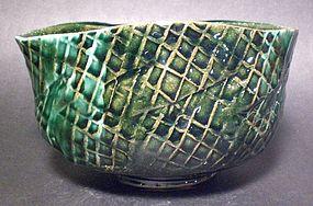 Large Oval Tataki Oribe Teabowl (1151tb)