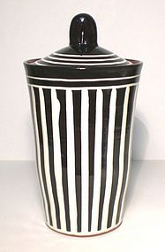 BLACK & WHITE TERRA COTTA  ERNST STREEP COVERED JAR
