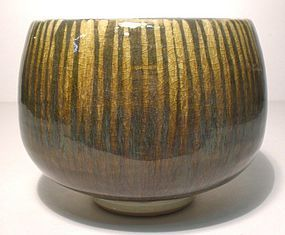 LARGE SAFFRON BAMBOO GROOVE DESIGN TEABOWL  (1157tb)