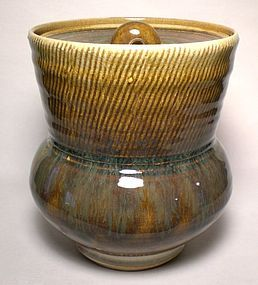 SAFFRON KUSHIME COMBED WATER JAR/ COVERED JAR