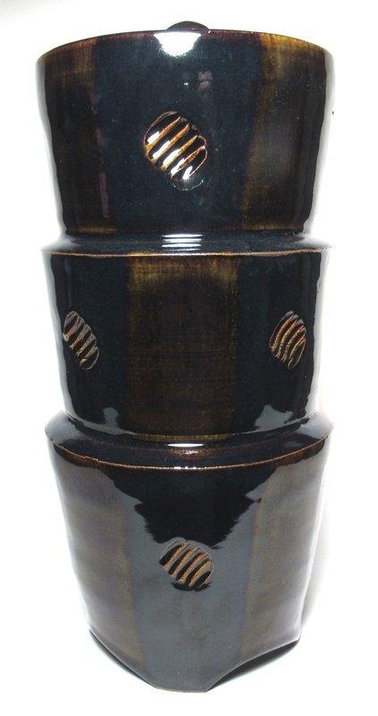 MEDIEVAL GREEN & TEMMOKU COVERED PISA JAR