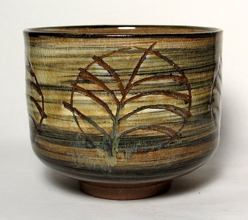 SAFFRON GLAZED SWIRLED SLIP & INCISED TEABOWL (tb1177)