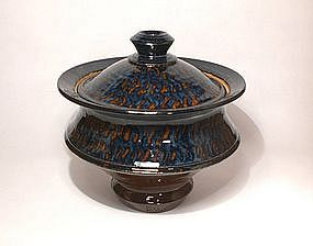 Ameyu and Gosu Blue Saturn Covered Jar
