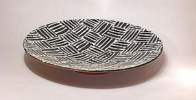 Black & White Slipware Woven Pattern Wall Bowl