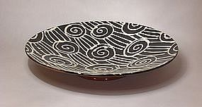 Black & White Slipware Spirals & Slashes Wall Bowl