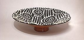 Black & White Slipware Spirals & Slashes V-Bowl