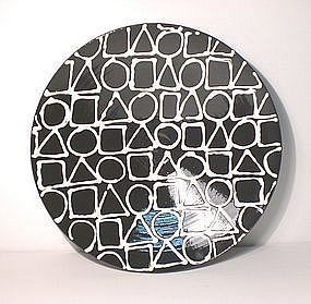 Black & White Slipware Wall-bowl, Sengai's Universe