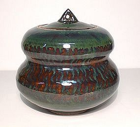 Ame & Copper Glazed Stacked Stone Covered Jar
