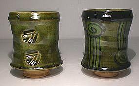 Medieval Oribe Green Glazed Yunomi