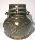 Ao Glazed Squared Vase With Rain Pattern