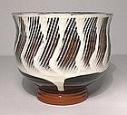 Terra Cotta Black & White Combed Teabowl