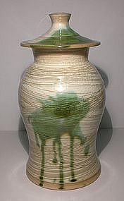 Lg. Hakeme Cover Jar With Medieval Green Splash