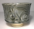 "Ao Glazed  Etched Teabowl; ""Verses"" Design"