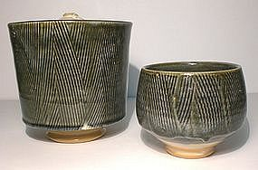 Ao Glazed Kushime Decorated Mizusashi & Chawan Set