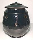 Temmoku Stamped Covered Cap Jar
