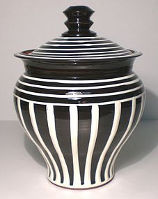 B&W Terra Cotta Ionic Covered Jar