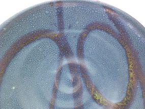 Temmoku & Medieval Green Swirl Plate #1