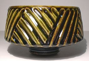 Medieval green & Temmoku Shinogi Teabowl (1)