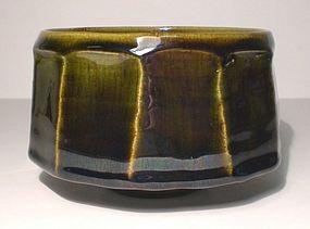 Temmoku & Medieval Green Mentori Teabowl