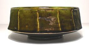 Medieval Green & Temmoku Mentori Serving Bowl